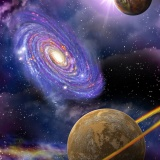 distant galaxies and planets flying in outer space