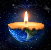 Eco concept. Half-burned planet in form of candle on the space b